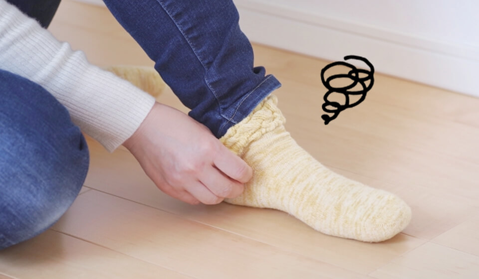 普通の靴下で一日過ごすと靴下自体がずれてしまっていませんか?